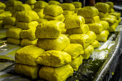 Yellow tofu sell in local tradiitonal market photo taken in bogor jakarta indonesia stock image