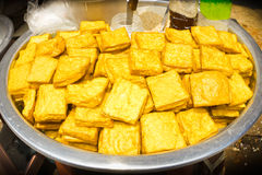 Yellow tofu, snacks burmese Style. Royalty Free Stock Image