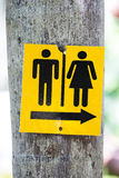 Yellow toilet signs Stock Photo