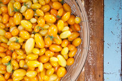 Yellow tomato in a basket Stock Images