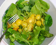 Yellow Tomato Salad Bowl With Fork Royalty Free Stock Image