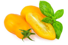 Yellow Tomato Tomatoes with Basil Leaf Isolated on White Royalty Free Stock Photography
