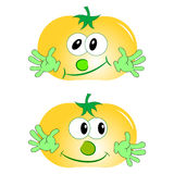 tomato cartoon character vector yellow. Tomato yellow two funny with green arms Royalty Free Stock Image