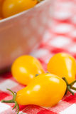 Yellow tomatoes on picnic tablecloth Stock Image