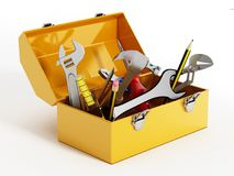 Yellow Toolbox With Hand Tools. 3D Illustration Stock Image