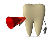 Yellow tooth with megaphone Royalty Free Stock Image