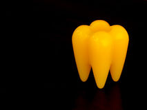 Yellow tooth model. In black background Stock Photos