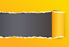 Yellow Torn Color Wrapped Paper With Copy Space Stock Images