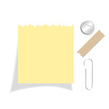 Yellow torn note paper Royalty Free Stock Images