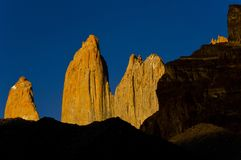 Yellow Torres del Paine towers at sunrise. Torres del Paine national park, Chile Royalty Free Stock Image