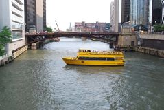 Yellow tour boat. Tour boat in Chicago river royalty free stock photo