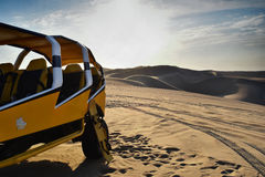 Yellow Touring Bus on Desert during Daytime Royalty Free Stock Photography