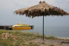 Yellow tourist catamaran. Royalty Free Stock Photos