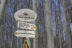 Touristic Trail Signage in Slovakia. Yellow touristic trail sign in forrest showing the altitude and the time to get to the nearest places following this trail Stock Image