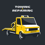 Yellow tow truck vector illustration Royalty Free Stock Photo