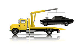 YELLOW TOW TRUCK. On white back ground Stock Images