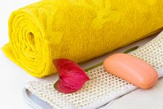 Yellow towel Stock Photos