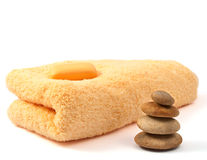 Yellow towel and soap stock photography
