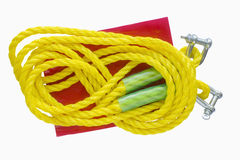 Yellow towing rope Stock Photo