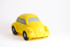 Yellow Toy Car. Close-up photo of a toy sponge yellow car Royalty Free Stock Photo