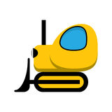 Yellow toy tractor icon. Royalty Free Stock Images