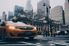Yellow Toyota Sedan on in Highway Road Stock Photo