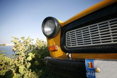 Yellow Trabant close view Stock Photography