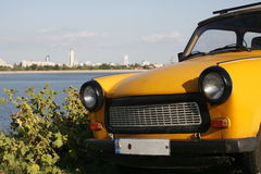 Yellow Trabant front view Royalty Free Stock Image