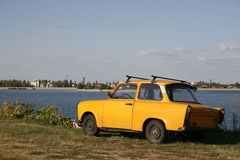 Yellow Trabant Stock Images