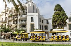 Yellow trackless train  in  Barcelona,Spain Royalty Free Stock Photos