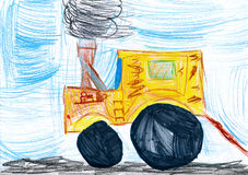 Yellow tractor. child drawing Royalty Free Stock Image