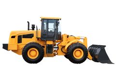 Yellow tractor. With a ladle separately on a white background Royalty Free Stock Photo