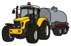 The yellow tractor with a steel tank. The hand drawing of a yellow heavy tractor with a steel tank trailer Royalty Free Stock Photo