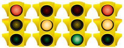 Yellow traffic light. Variants. Vector illustration. Isolated on white background Stock Image