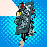 Yellow traffic light. Pop art retro style. The flow of traffic. The signs and signals. Light and color. The rules of the road Royalty Free Stock Photography
