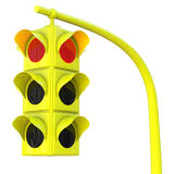 Yellow traffic light on red Stock Photos