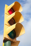 Yellow traffic light shows red signal Royalty Free Stock Photo