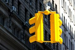Yellow traffic lights in New York Royalty Free Stock Image