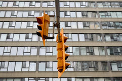 Yellow traffic lights Toronto downtown Stock Photography