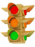 Yellow traffic lights on white background. Yellow traffic lights with red, yellow and green light Stock Image