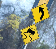 Yellow Traffic sign Stock Photo