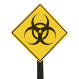 Yellow traffic sign with biohazard symbol. Stock Image