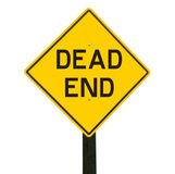 Yellow traffic sign with dead end symbol. Royalty Free Stock Photo