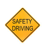 Yellow traffic sign text for safety driving isolated Royalty Free Stock Photos