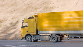 Yellow trailer truck Royalty Free Stock Image