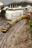 Yellow train. A little train on the road Royalty Free Stock Photography