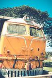 Yellow train and blue sky  vintage style Royalty Free Stock Images