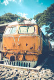 Yellow train and blue sky  vintage style Stock Photography