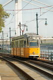 Yellow tram. 2A Tram in Budapest going to Boraros square royalty free stock images