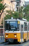 Yellow tram. (Number 18/a) in Budapest stock photo